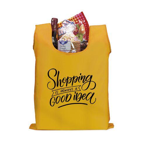 Romslig og sammenbrettbar handlepose med lomme.
