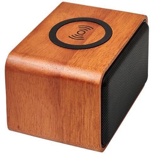 Wooden høyttaler med trådløs ladestasjon